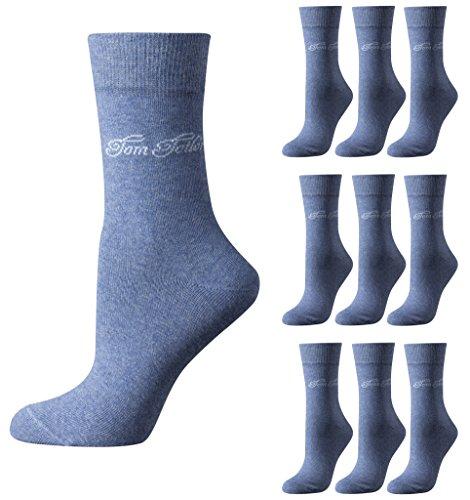 TOM TAILOR 9er Pack Basic Women Socks 9703 434 light denim melange Mehrpack Strümpfe Socken, Size:35-38