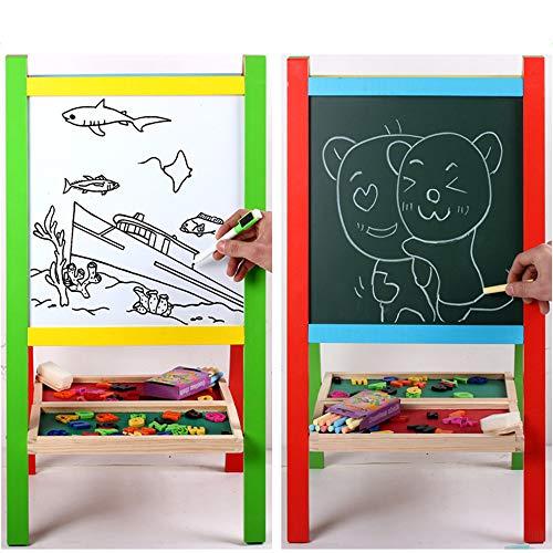 Zeichenbrett für Kinder Kinder, die auf Kunst-Staffelei-Brett mit weißem Brett und Tafel-magnetischen Buchstaben-Kleinkind-Geschenken 2 - 3-jähriger Junge und Mädchen stehen Spaß pädagogisches Lernen