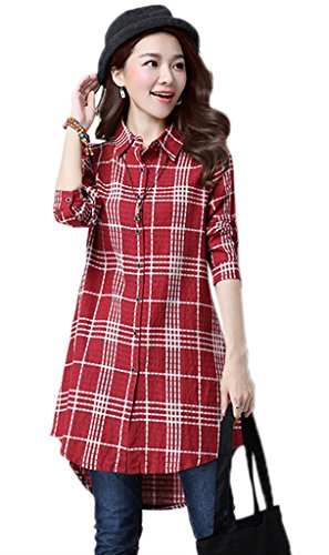 Bigood Femme Blouse Carreaux Chemise Slim Loose Mode Avec Poche Rouge