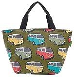 Eco Chic Isolierte Lunch-Tasche, Kühltasche, Picknick-Tasche, Tasche für Lunchpakete, Camper Van Green