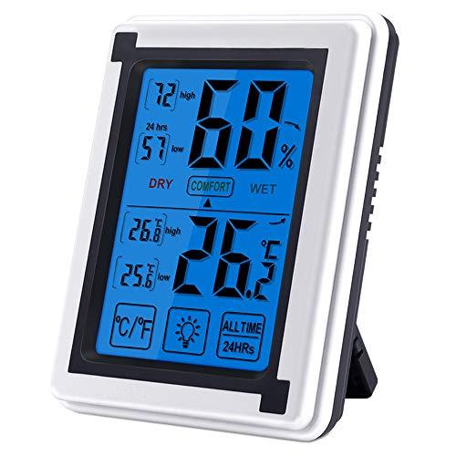 Digitales Thermo-Hygrometer, Nasharia Indoor Hygrometer Thermometer Mini Luftfeuchtigkeit Messen, Thermometer Innen mit LCD Bildschirm und °C/°F Schalter, Monitor Temperatur mit Hintergrundbeleuchtung