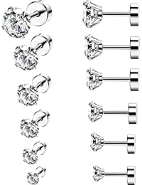 6 Paires 18G Boucles d'Oreilles en Acier Inoxydable Zircone Cubique Cartilage Oreille Hélix Piercings de Barbell Tragus, 6 Tailles