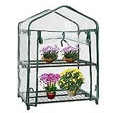 Mini serra per piante a 2 scomparti, con copertura (senza telaio in ferro)