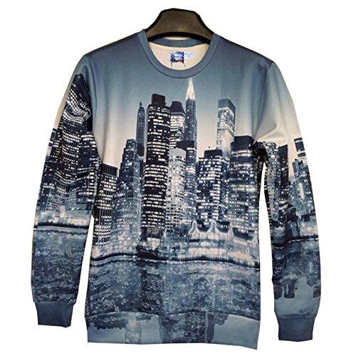 TOPDCLSN Männer/Frauen 3D-Hoodies drucken wunderschöne Stadt Nacht 3D-Sweatshirts asiatischen Größe SWT 93, SWT93, L