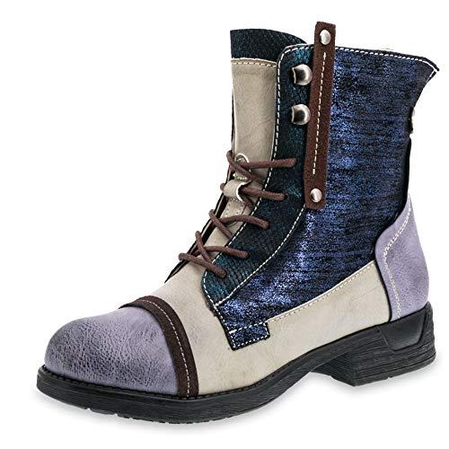 Marimo Damen Schnür Stiefel Stiefeletten Metallic Worker Boots in Lederoptik gefüttert Blau 37 (Timberland Fake Boots Für Frauen)
