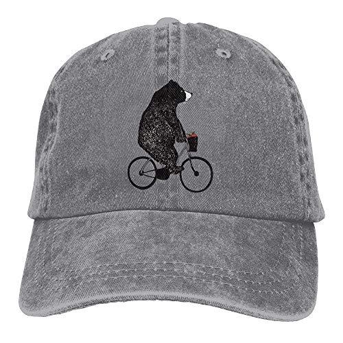 Apple Cotton Cap (Vidmkeo Unisex Ride A Bicycle Bear Apple Washed Cotton Denim Baseball Cap Dad Hut Multicolor53)