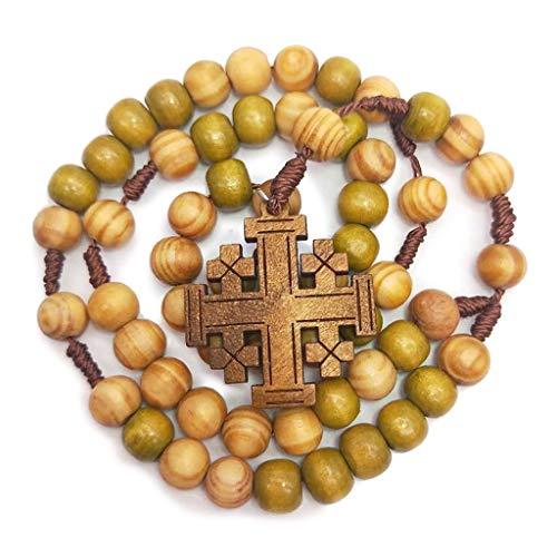 Jesus Holz Gebetskette 10 mm Rosenkranz Kreuz Halskette Anhänger geflochtene Kordelkette Kirchenzubehör Schmuck Zubehör