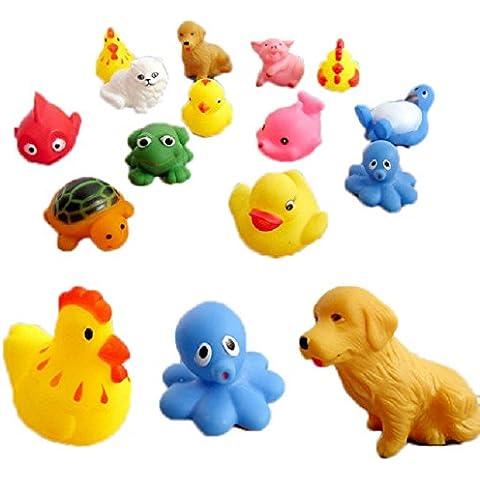 Malloom® 13 piezas caucho Animales Con Sonido bebé juguetes ducha juguetes para baño