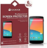 SAMAR® - Supreme Quality New Google Nexus 5 Crystal Clear Screen Protectors (Released 2013) 6 in Pack - Includes Microfiber Cleaning Cloth