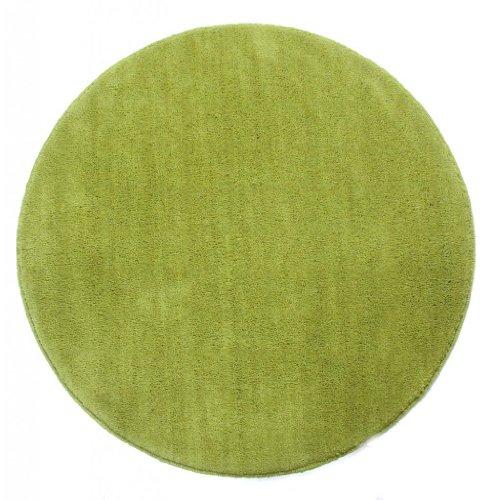Homescapes Dekorativer Kurzflor Teppich rund grün - 70 cm