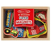 20 magneti Wooden; Farm Theme features Sheep, Rooster, capra, Pig, hay Bale, Cow, Goose, Barn, Tractor, Apple Tree, and more; convenient Wooden Storage Case; Sturdy Wooden Construction; Great for Matching, Sorting, and Storytelling