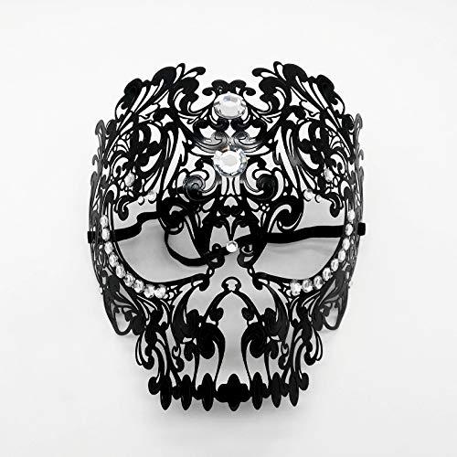 WDERYL Halloween Venezianische Maske, Venedig Cosplay Eisenmaske Maskerade Spaß Augenmaske Party Queen Vollmaske Männliche und weibliche Schmiedeeisenmaske,Schwarz