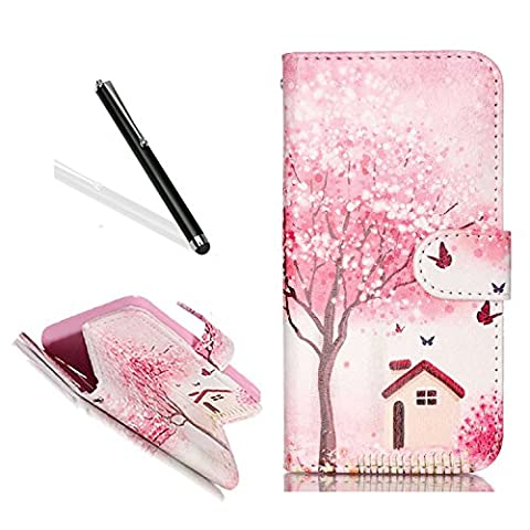 Galaxy A5 2016 Leather Case,Galaxy A5 2016 Flip Case,Leeook Pu Leather Wallet Case Cover with Stand Pretty Pink Cherry Flower Tree Design Credit Card Holder Protective Book Type Flip Case Cover for Samsung Galaxy A5 2016 + 1 x Free Black Stylus-Cherry