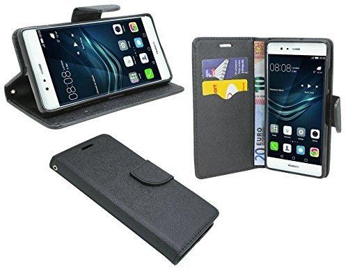 Huawei P9 PLUS // Buchtasche Hülle Case Tasche Wallet BookStyle mit STANDFUNKTION in Schwarz @ Energmix