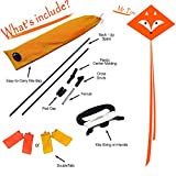 EMMAKITES Mr. Fox Diamond Kite 80CM with Double Tails and Kite String - Easy to Fly - Kite for Kids and Adults