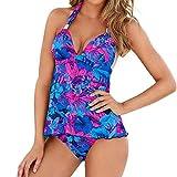 MRULIC Badeanzug 2 Stück Damen Tankini Swim Kleid Beachwear Gefärbt Charmant Bademode Plus Size Bikisuit(Z-Z-Violett,EU-38/CN-M)