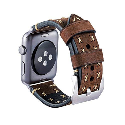 Armband für Apple Watch, MroTech Leder Armband Vintage Uhrenarmband für Apple Watch Sport/Edition Series 1, Series 2, Series 3 und Apple Watch Nike+ (Kaffee, 42mm)