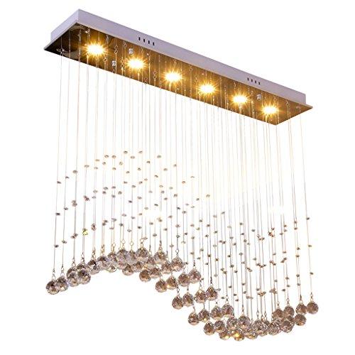 LOFAMI Luxus Energie sparen LED Wave Kristall Perlen Kronleuchter 3 Farbe Licht Edelstahl Restaurant Pendelleuchte Wohnzimmer Deckenleuchte - Kronleuchter Für Kristall-perlen