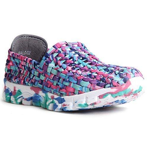 Femmes Confort Chaussures De Marche Pantoufles En Mousse À Mémoire De Forme Élastique Tissé Formateurs Supérieurs Multicolore rose