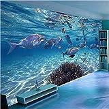 Qwerlp Fototapete 3D Stereoskopische Unterwasserwelt Von Meeresfischen Living Kinderzimmer Tv Hintergrund 3D Wandbild Tapete