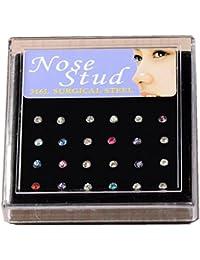 JS Direct - Lot de 24 Piercings de Nez Grand Clou Acier Inoxydable Strass Cristal Couleur mélangé 2,5mm + Boîtier
