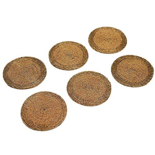 Untersetzer Getränke Gold Für (Kreisförmige Untersetzer Perlen mit Gewebeeinlage - Gold - 105mm - 6er Pack)