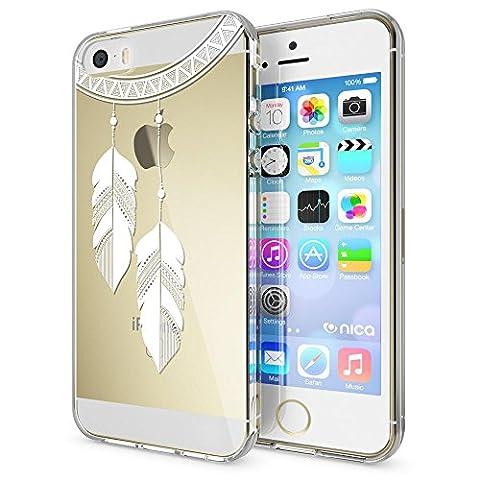 iPhone SE 5 5S Coque Protection de NICA, Housse Motif Silicone Portable Premium Case Cover Transparente, Ultra-Fine Souple Gel Bumper Etui pour Apple iPhone 5 5S SE, Designs:Chain Feathers
