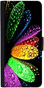 Snoogg Colorful Flowers And Water Droplets Graphic Snap On Hard Back Leather ...