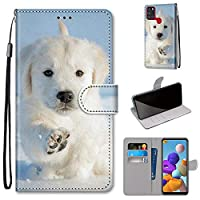 Mylne Full Body Case for Samsung Galaxy A21S,Colorful Pattern Design PU Leather Flip Wallet Case Cover with Magnetic Closure Stand Card Slot,Snow Dog