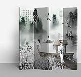 Fine Asianliving - Biombo - tabique decorativo para habitaciones - SEPARADOR DE ESPACIOS – Divisorio - impresión sobre lienzo - Los biombos de tela - Biombo impreso sobre lona - tabique decorativo para habitaciones - muebles decoración del hogar impreso lienzo - Para Pared Decoración Para Hogar Sala Cocina Dormitorio- de impresion bilateral en el lienzo de TNT de calidad - Decoracion cuarto - Biombo de madera con imagen impresa - habitación separador - Decor lienzo decorativo - 129