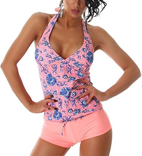 Blumen-Muster Tankini mit Shorts, Neonapricot 32 (Power-tankini-top)