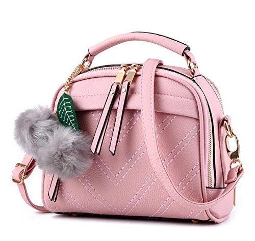 Hippolo Damen Handtasche Klein Umhängetasche Schultertaschen PU Leder Taschen Henkeltasche Shopper Rosa