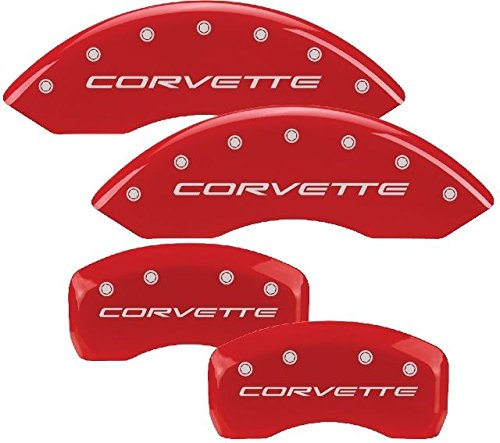 MGP Caliper Covers 13013SCV4RD Caliper Cover Red Powder Coat Finish, Engraved Front and Rear: C4//Corvette, Silver Characters, Set of 4