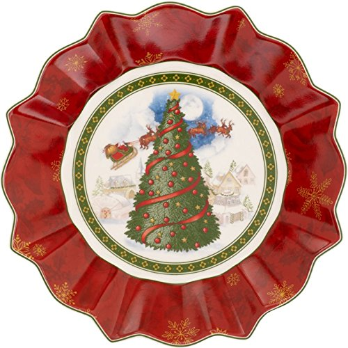 Villeroy & Boch 1483323646 Toy's Grande Coupelle Toy's Fantasy Motif Sapin Arts de la Table de Noël Porcelaine Rouge 27 x 23,5 x 5 cm