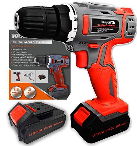 Terratek 18V/20V-Max Lithium-Ion Cordless Drill Driver 13pc 2 Batteries  Combi Drill, Electric Screwdriver 13pc Accessory Kit, LED Work Light, 2 x