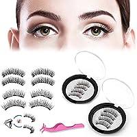 Acelane Eyelashes 3 Magnets Full Eye Triple Magnetic Lashes 3D Reusable Full Eye Triple Magnetic Lashes Extension No Glue Handmade (3 Magnets,4 Magnets)
