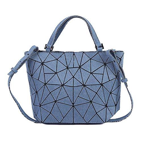 Preisvergleich Produktbild Willsego Damen Jeans Tote Bag Vielzahl Faltbare PU Hnadbag Casual Lingge Bag Schulter Messenger Bag (Farbe : Blue-(lxwxh):38x13x25cm, Größe : -)
