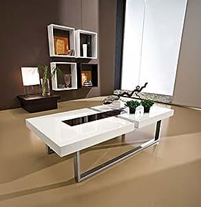 """Table basse moderne blanche/noire """"Julien"""" 125cm Meuble House"""