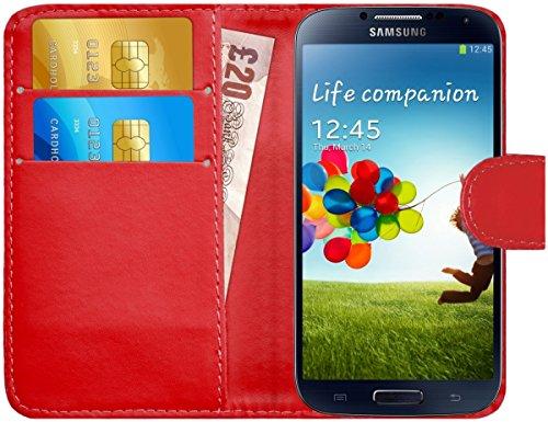 Cover S4 Rot Flip Samsung (Samsung Galaxy S4 / S4 Neo Hülle Leder Klapphülle mit Kartenfach G-Shield Schutzhülle Tasche Flip Case Cover Etui Handyhülle für Samsung Galaxy S4 (i9500) mit Displayschutzfolie und Stylus-Stift - Rot)