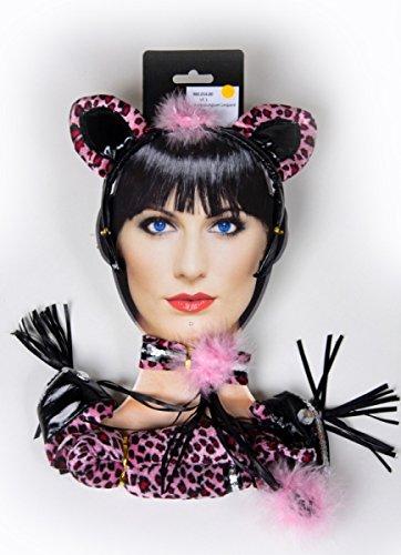 Leopard Kostüm Pink - Festartikel Müller Kostüm Zubehör Leopard pink Ohren Halsband Schwanz Karneval Fasching