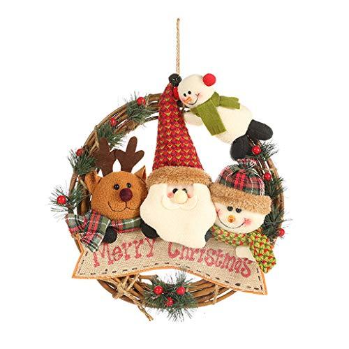 Mumuj Weihnachten Deko, Weihnachtsbaum Anhänger Weihnachts Baumdecke Weihnachten Fensterbilder Weihnachtsdekoration Rattan Kreis Anhänger Rattan Kranz Dekorativer Anhänger -