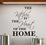 Cols Decals UK THE KITCHEN IS THE HEART OF THE HOME vinyl wall art sticker decal, color: Black