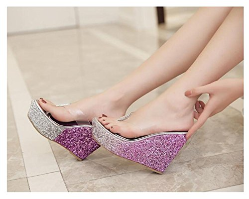 Beauqueen Nozze Nightclub Tanga Flip & Flop Wedge Piattaforma Scarpe Pantofole Beach Vacation Sequins Decorazione Punk Style Pantofole antisdrucciolo casual 34-40 Purple
