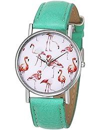 Souarts Womens Pink Flamingo Dial Mint Green Artificial Leather Business Quartz Analog Wristwatch