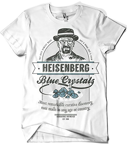 Camisetas la colmena - t-shirt 427, motivo breaking bad, mod. blue crystals (zafferano) bianco xl