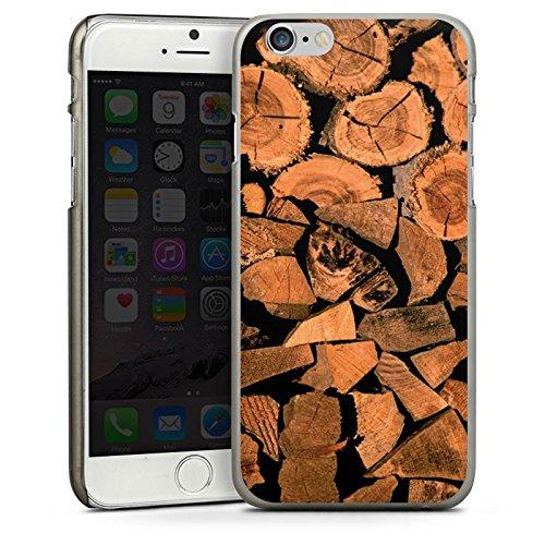 Apple iPhone 4 Housse Étui Silicone Coque Protection Look bois Arbre Bûche CasDur anthracite clair