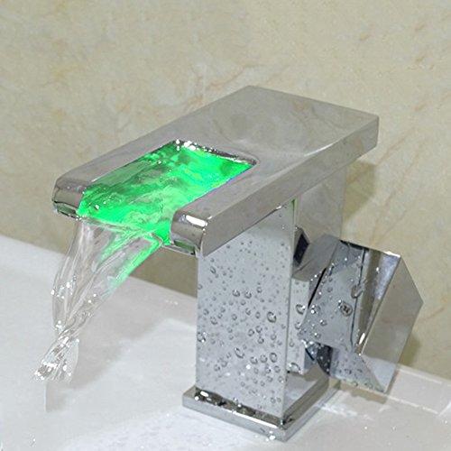 Preisvergleich Produktbild Cqq LED Wasserhahn LED-Hahn Heißer und kalter Wasserfall Wasserfall Voller Kupfer Bad Wasserhahn Glühender Wasserhahn Kupfer