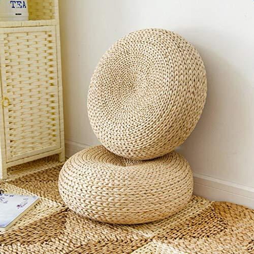 SM SunniMix Umweltfreundliche Tatami Sitzkissen aus Strohgewebte Dia. 40cm Sitzkissen Fußboden Matte -