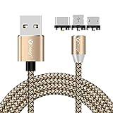 SKITCH® 2M rotieren runden geflochtenen magnetischen Ladegerät Kabel, 3 IN 1 Micro USB + USB Typ-C + IOS magnetischen Adapter Ladekabel für Smartphones Tablets (nicht unterstützt Daten synchronisieren)