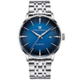 Pagani Design Reloj Automático Hombre - Reloj Impermeable para Hombres con Correa De Acero Inoxidable - Reloj para Hombres con Vidrio Mineral a Prueba De Rayones (Azul)